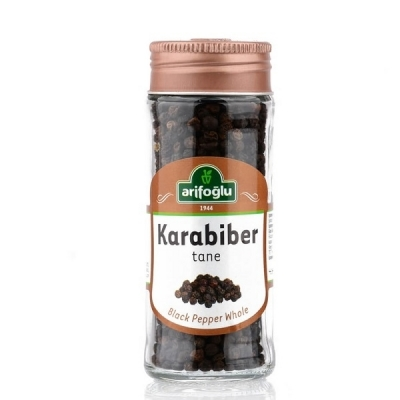 Black Peppercorns in Jar