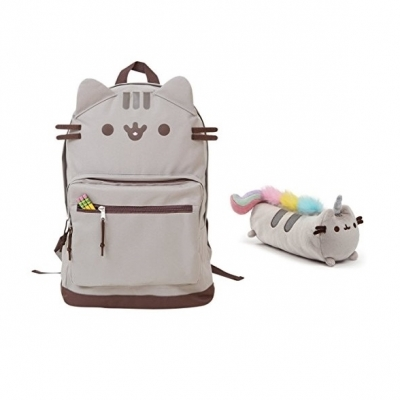 Pusheen Cat Face Backpack and Pusheenicorn Accessory Case Set