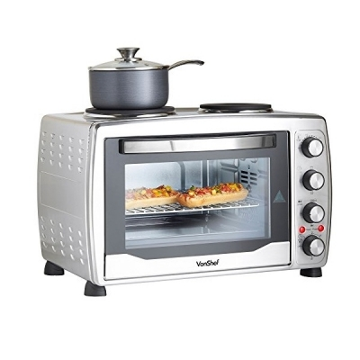VonShef 36L Mini Oven, Grill & Rotisserie with Double Hot Plates