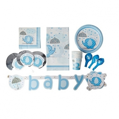 Blue Elephant Baby Shower Supplies Kit