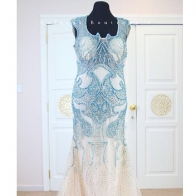 Evening dress with cyan colored light blue and beige