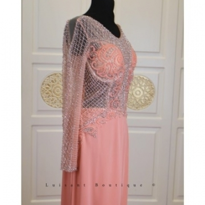 Evening dress with cyan colored peach